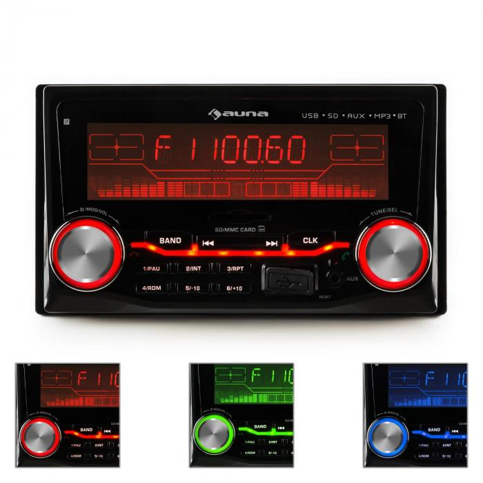 Auna MD-830, radio za auto s bluetoothom, USB, SD, MP3, 3 boje