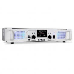 SPL500 W PA ojačevalnik DJ USB SD MP3 - beli Bela | MP3-Player | 2x 250 W (4 Ohm)