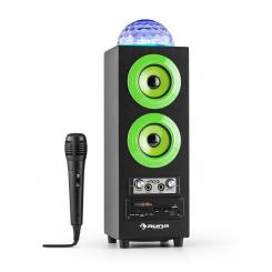 Discostar verdeportabil 2.1 Bluetooth Speaker USB SD FM AUX LED Jelly Ball baterie portabila incl. Microfon Verde