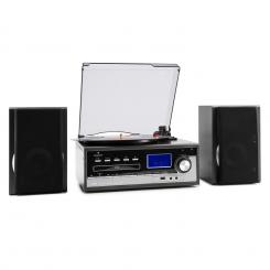 Blackwood, sistem stereo, gramofon, codează USB MP3, CD, casete, FM, AUX Negru