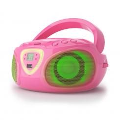 Road Boombox CD USB MP3 MW/UKW-Radio Bluetooth 2.1 LED, roza barve, 2.1 LED barvni efekti Roza