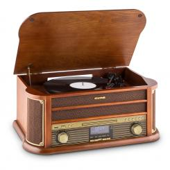 Belle Epoque 1908 DAB, retro stereo systém, gramofon, DAB +, bluetooth Hnědá | CD-Player / Bluetooth / DAB Radio