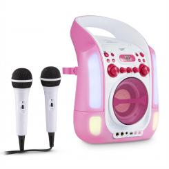 Kara Illumina Karaoke mobil CD MP3 USB LED roz 2 x microfoane Roz