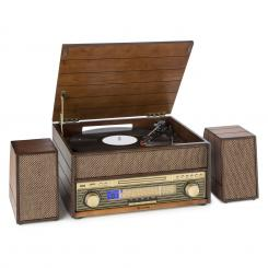 Epoque 1909, retro audio rendszer, gramofon, kazetták, bluetooth, USB, CD, AUX