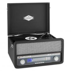 Epoque 1907, retro audio sustav, gramofon, kazetofon, bluetooth, USB, CD, AUX Crna