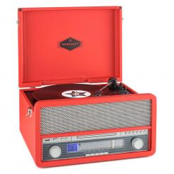 Epoque 1907, retro audio systém, gramofón, bluetooth, MC, USB, CD, AUX Červená