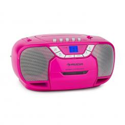 BeeGirl Boom Box Ghetto Blaster FM radio și / MP3 player portabil ecran LCD casetofon CD roz Roz