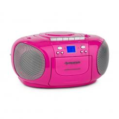 BOOMGIRL BOOM BOX, CRNI, BOOMBOX, PRIJENOSNI RADIO, CD/MP3 PLAYER, KAZETOFON Ružičasta