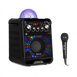 Rockstar LED, karaoke sustav, CD player, bluetooth, USB, AUX, 2 x 6.3 mm, crna