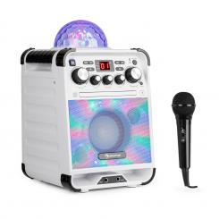 Rockstar LED, karaoke sustav, CD player, bluetooth, USB, AUX, 2 x 6.3 mm, bijela