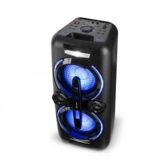 Bazzter, party audiosystem, 2 x 50 W RMS, baterija, BT, USB, MP3, AUX, FM, LED, mikrofon