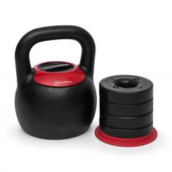 Adjustabell, podesivi kettlebell, 16/18/20/22/24 kg, crni/crveni From_8_to_16_kg
