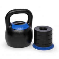 Adjustabell, podesivi kettlebell, 16/18/20/22/24 kg, crni/plavi From_16_to_24_kg