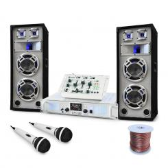 "DJ PA Set de boxe, amplificator, mixer ""Polar Bear"" 2200W"