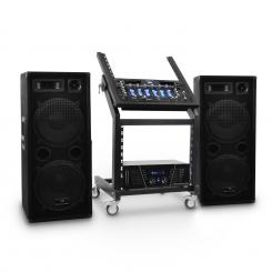 "DJ PA Set ""Mars Flash Bluetooth"" rack, ojačevalec, zvočniki"
