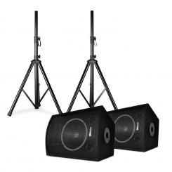 "SL10, pereche de boxe cu trepiede, woofer de 10"", 250 W max., 2x trepied + sac 10"" (25 cm) speaker pair with stands"