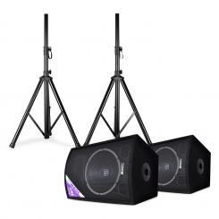 "SL12, diszkó hangfal pár állvánnyal, 12"" woofer, 200 W/max. 300 W 12"" (30 cm) speaker pair with stands"