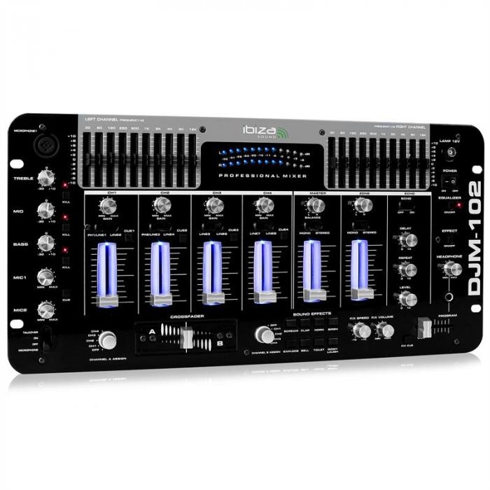 DJM-102 PRO 4-KANAL MIKSETA 10-BAND EQ LED BATTLE