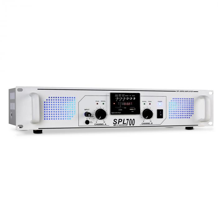 Skytec SPL-700 MP3 bílý, PA zesilovač 2000W, USB/SD/MP3