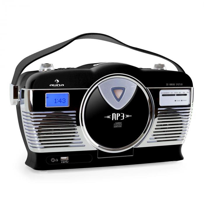 Auna RCD-70BL, retro rádio, FM, USB, CD, MP3, baterie, černé