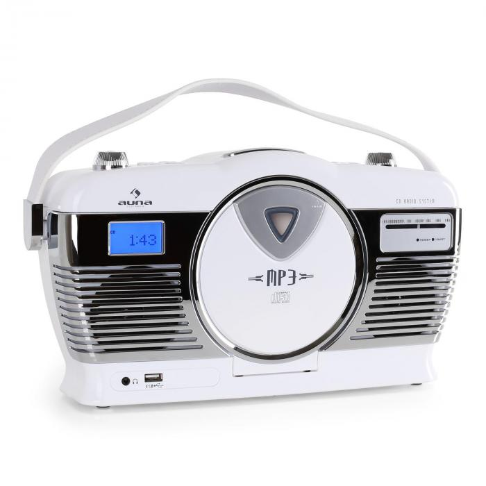 RCD-70WH, retro rádio, FM, USB, CD, MP3, baterie, bílé