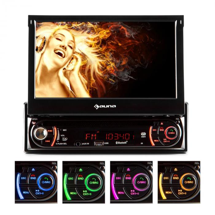 Autorádio Auna MVD-240, DVD, CD, MP3, USB, SD, AUX, 7 '', bluetooth