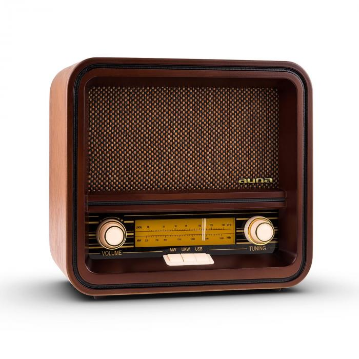 Auna BelleEpoque-1901, retro rádio, nostalgické rádio, FM, AM, USB, MP3