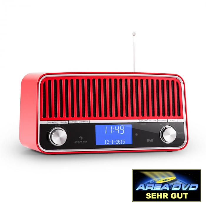 Auna Nizza-RE, DAB+ retro rádio, bluetooth, FM, AUX, 2.1, subwoofer, červené