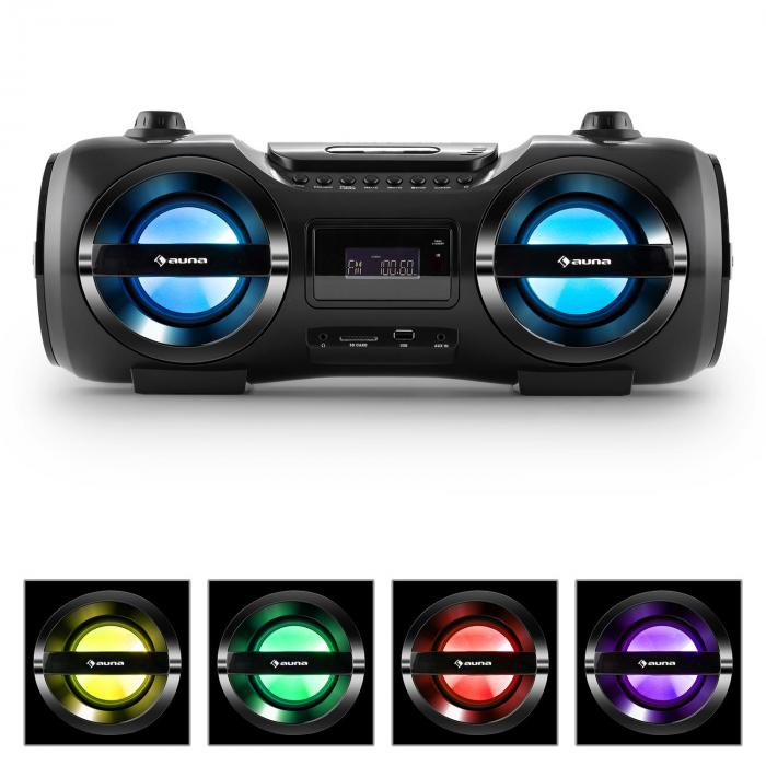 Auna Soundblaster M, max. 50 W, boombox s bluetooth 3.0, CD / MP3 / USB, FM, LED