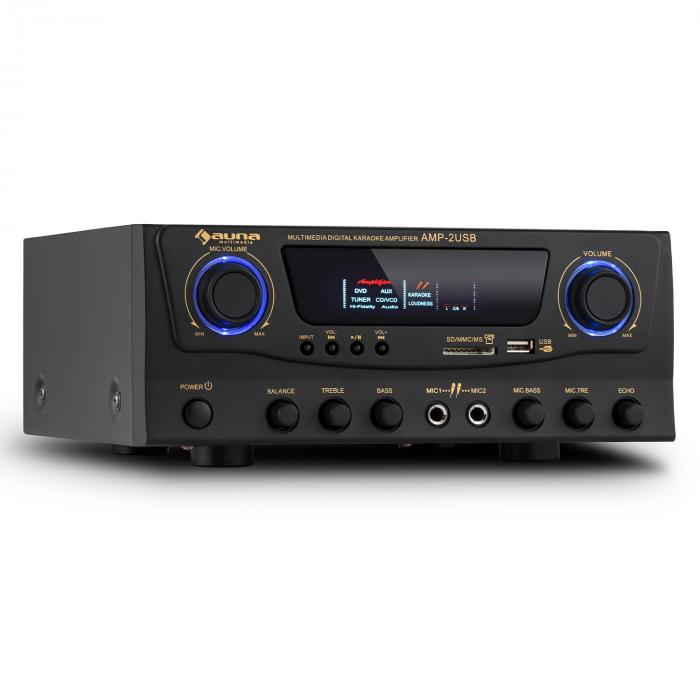 AMP-2 HIFI караоке усилвател 100W MAX. USB SD MP3