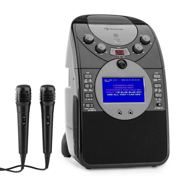 ScreenStar karaoke rendszer, kamera, CD, USB, SD, MP3, 2 mikrofon, fekete