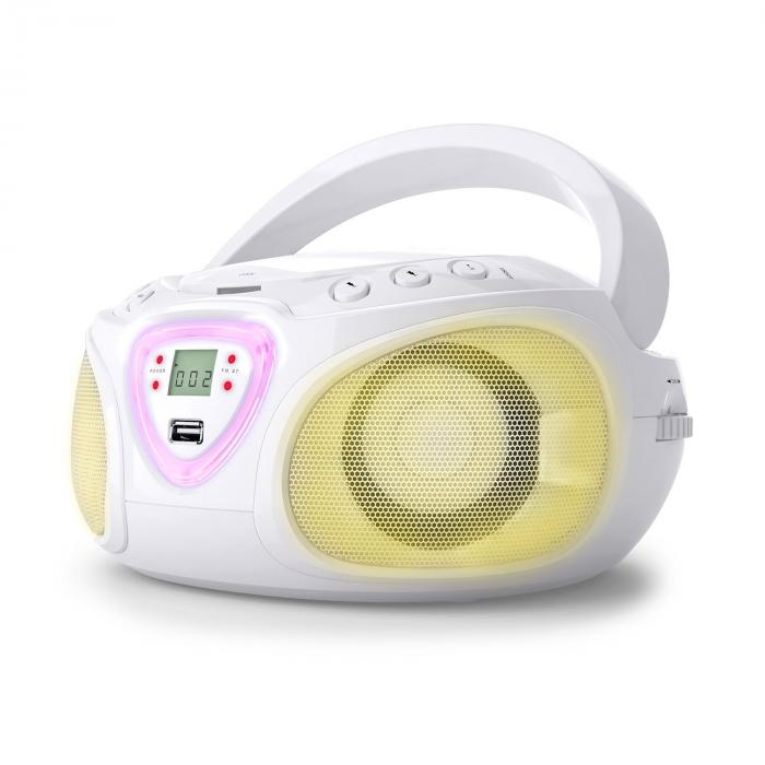 Auna Roadie, boombox, bílý, CD, USB, MP3, FM/AM rádio, bluetooth 2.1, LED barevné efekty