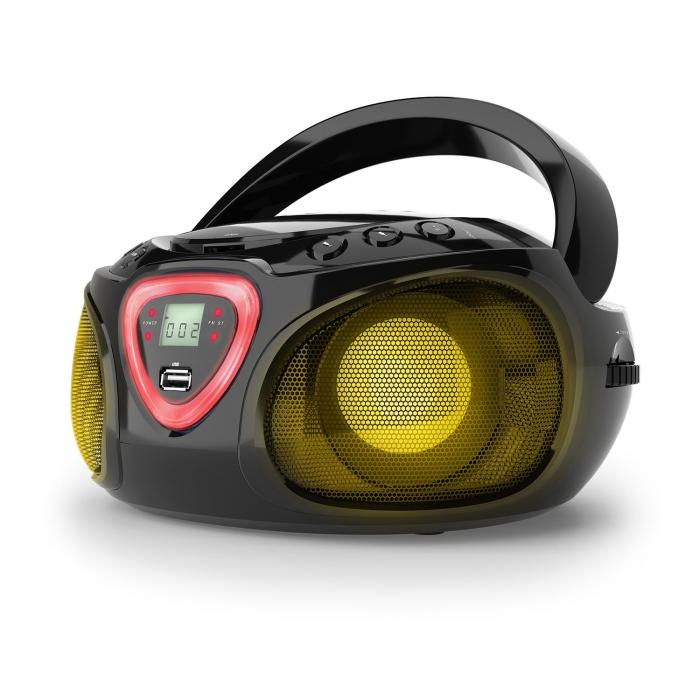 Auna Roadie, boombox, černý, CD, USB, MP3, FM/AM rádio, bluetooth 2.1, LED barevné efekty