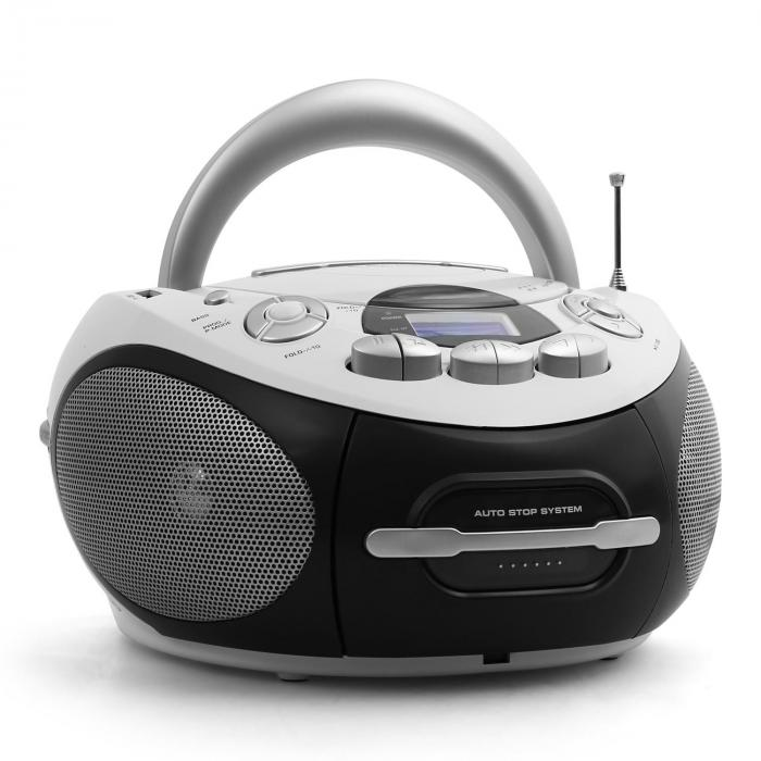 Audiola AHB-0388, přenosný boombox, CD, USB, MP3, FM/AM, kazety