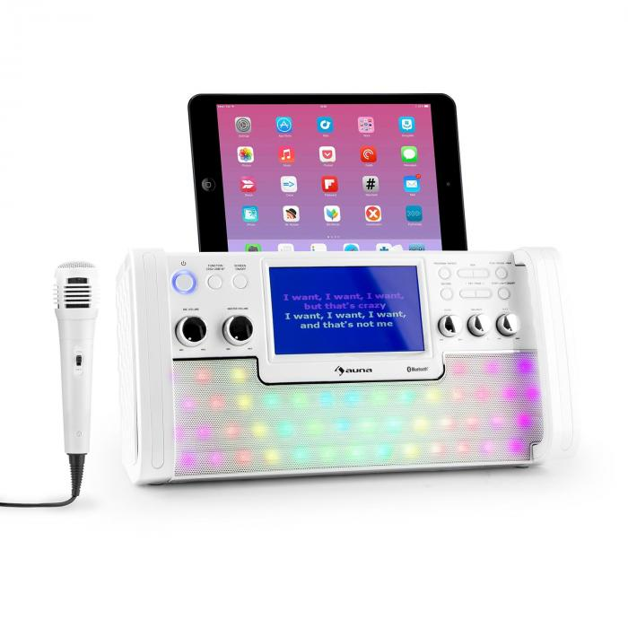 "Auna DiscoFever, bílý, bluetooth karaoke systém, LED, 7 ""TFT displej, CD, USB"