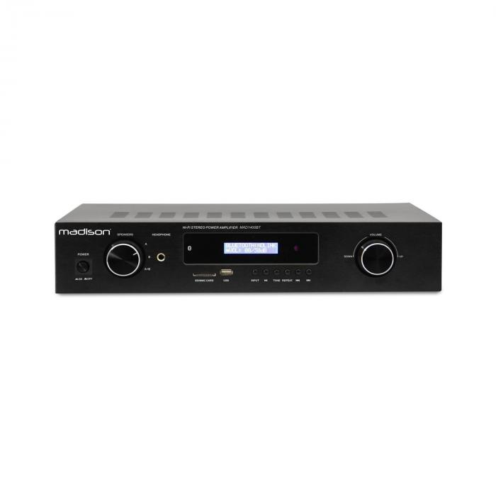 Madison MAD-1400 BT, 2x 140 W RMS, černý, HiFi stereo zesilovač, bluetooth, USB, SD, MP3, AUX, FM