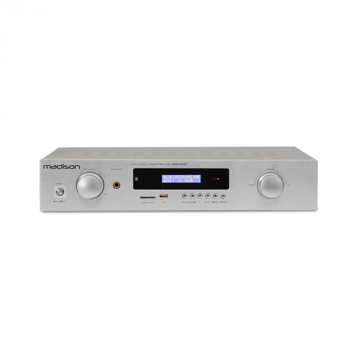Madison MAD-1400 BT, 2x 140 W RMS, bílý, HiFi stereo zesilovač, bluetooth, USB, SD, MP3, AUX, FM