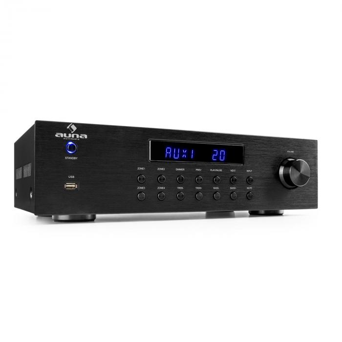 AV2-CD850BT, 4-zona stereo pojačalo, 5x80W RMS, bluetooth, USB, CD, crni
