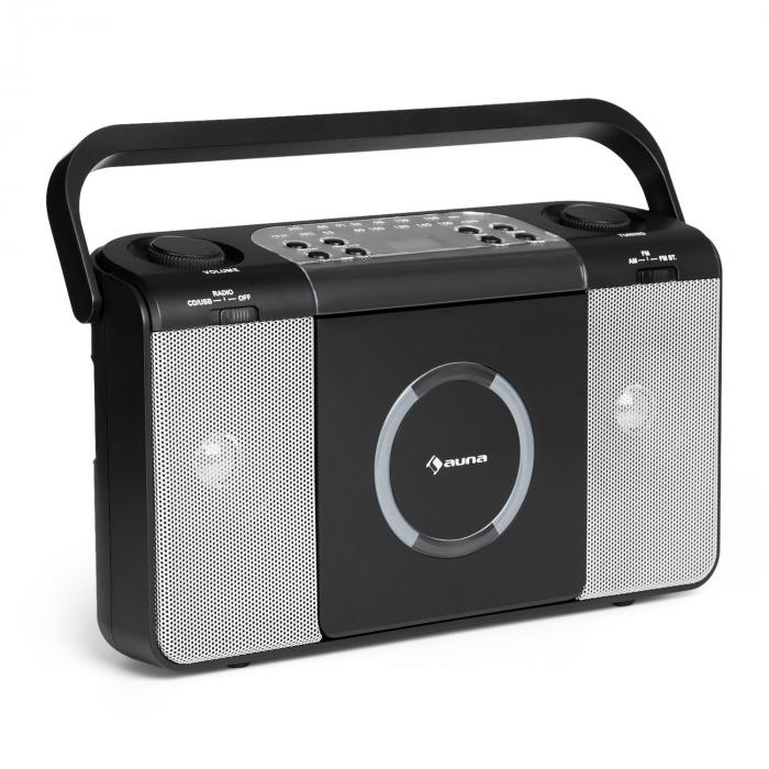 Boomtown USB, boombox, CD player, FM radio, MP3, prijenosni radio, crna boja