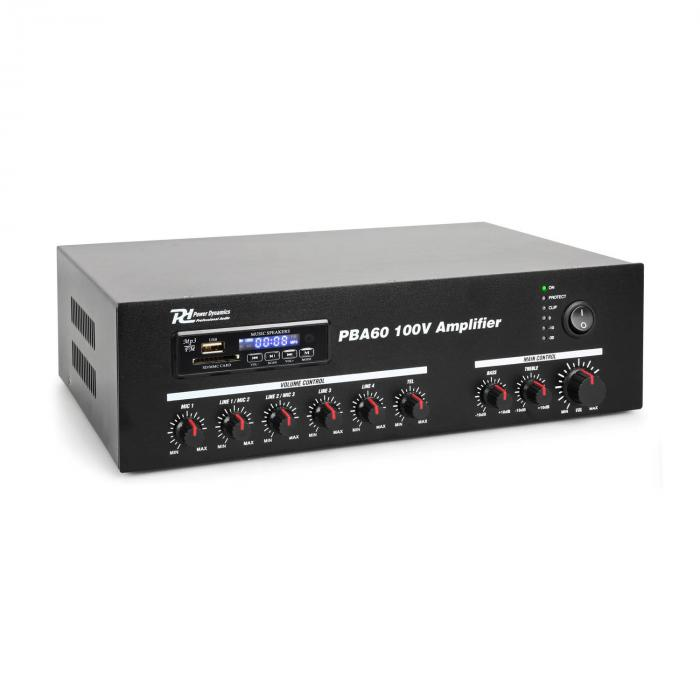 Power Dynamics PBA60 zesilovač 60 W USB/SD MP3 Bluetooth