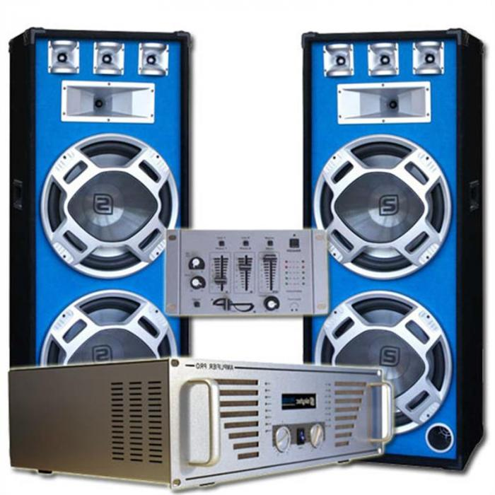 "Set complet Boxe DJ ""Bouncer"" Amplificator- Mixer"