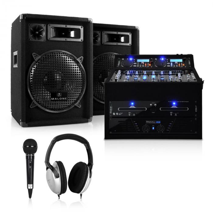 "KOMPLETAN DJ PA SET ""JUPITER SHOCK"" 800W RACK CASE"