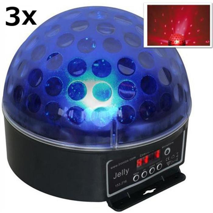 "3 x DJ guľa ""Beamz Magic Jelly"" LED svetelný efekt, RGB, DMX"