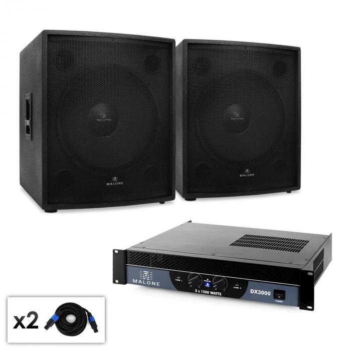 "2.0 SUB ""Party"" DJ PA Set 46cm Subwoofer & Ojačevalec 3000W"
