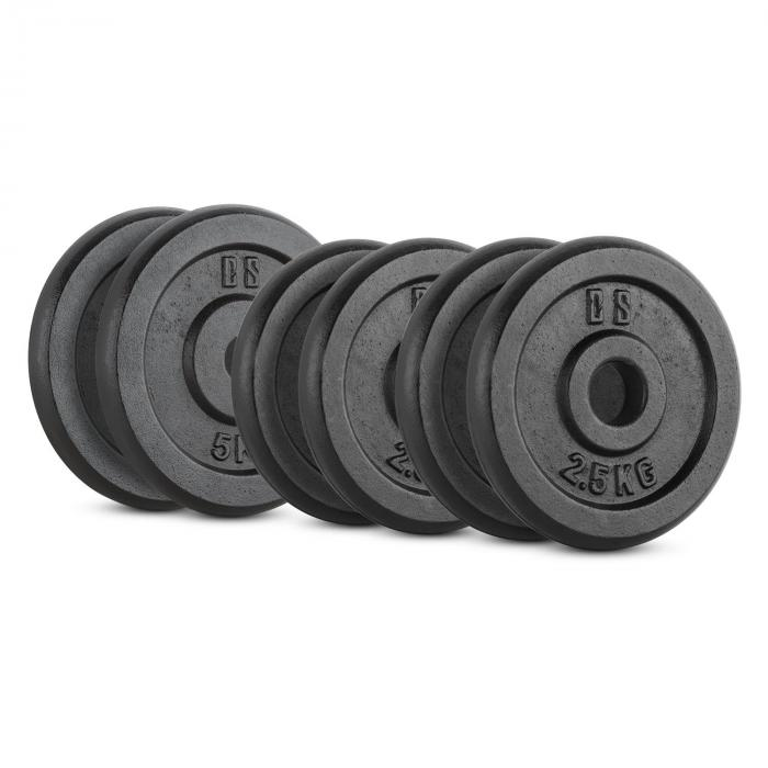 Capital Sports IPB 20 kg Set, sada závaží na činky, 4 x 2,5 kg + 2 x 5 kg, 30 mm
