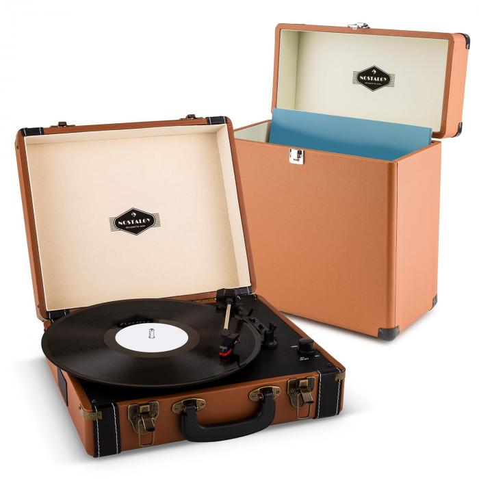 Auna Jerry Lee Record Collector Set brown | retro gramofon | kufřík na gramofonové desky