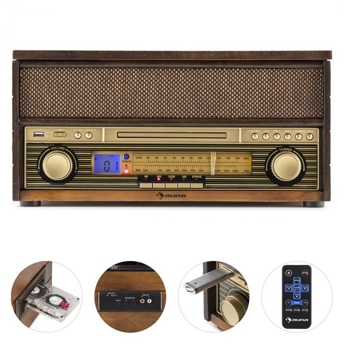 EPOQUE 1909, sistem audio retro, gramofon, casete, bluetooth, USB, CD, AUX