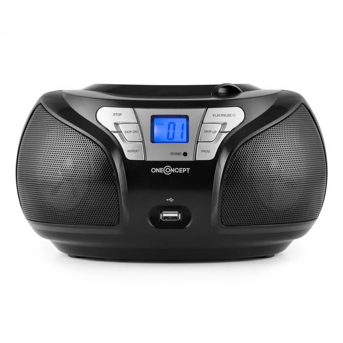 Groovie BK boombox, bluetooth, CD, FM, AUX, MP3, fekete