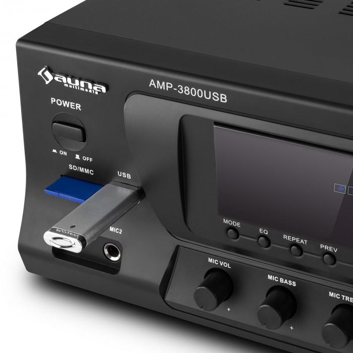 AMP-3800 USB, 5.1-kanalni surround prijemnik, 600 W max., USB, SD, FM