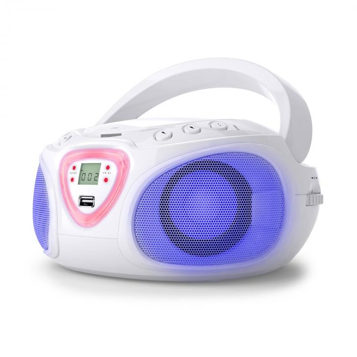 ROADIE BOOMBOX, bijeli, CD, USB, MP3, AM / FM radio, Bluetooth 2.1, LED efekt u boji